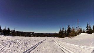 Z Kvildy na běžkách přes prameny Vltavy, Modravu a Horskou Kvildu zpět na Kvildu.